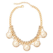 Aris by Treska Simulated Pearl Gold-Tone Bib Necklace