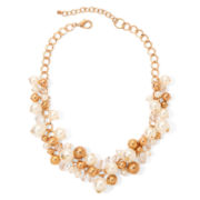 Aris by Treska Simulated Pearl Gold-Tone Cluster Necklace