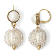 Aris by Treska Simulated Pearl Gold-Tone Bead Drop Earrings