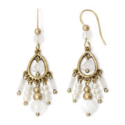 Aris by Treska Simulated Pearl Gold-Tone Chandelier Earrings