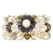 Aris by Treska Simulated Pearl Gold-Tone 3-Row Stretch Bracelet