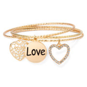Liz Claiborne Gold-Tone Heart Charm Bangle Set