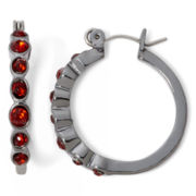 Liz Claiborne® Hematite Red Hoop Earrings
