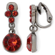 Liz Claiborne® Hematite Red Clip-On Drop Earrings