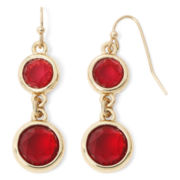 Liz Claiborne Gold-Tone Red Double-Drop Earrings
