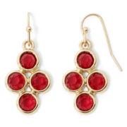 Liz Claiborne® Red Stone Multi Drop Earrings