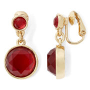 Liz Claiborne Red Stone Clip-On Drop Earrings
