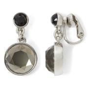 Liz Claiborne® Neutral Stone Clip-On Drop Earrings
