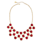 Liz Claiborne Red Stone Bib Necklace