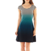 Worthington® Cap-Sleeve Ombré Fit-and-Flare Dress