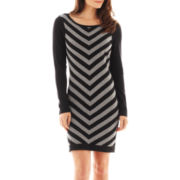 Worthington® Long-Sleeve Chevron Print Sweater Dress