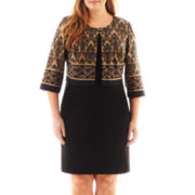 Danny & Nicole® Long-Sleeve Damask Jacket Dress - Plus