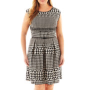 Tiana B. Cap-Sleeve Fit-and-Flare Dress - Plus