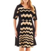 Danny & Nicole® Elbow-Sleeve Chevron Print Dress - Plus