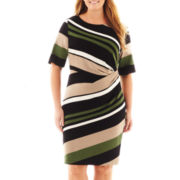 Danny & Nicole Short-Sleeve Striped Knit Dress - Plus