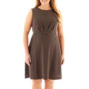 London Style Collection Cap-Sleeve Polka Dot Dress - Plus