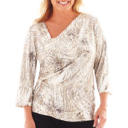 MSK 3/4-Sleeve Envelope Top - Plus