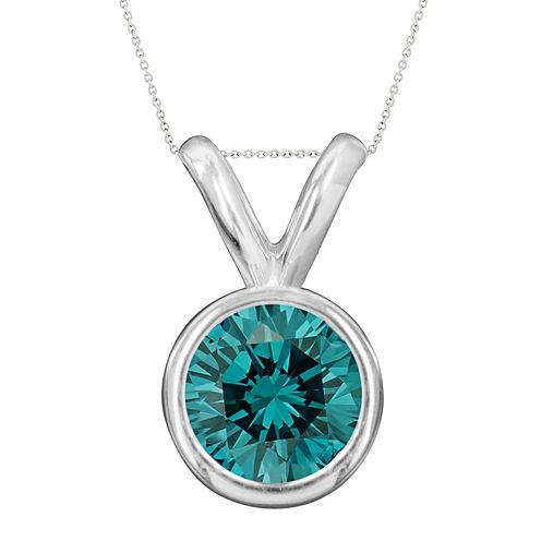 1/2 CT. T.W. Color-Enhanced Blue Diamond Solitaire Pendant Necklace