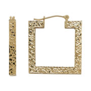 Infinite Gold™ 14K Yellow Gold Diamond-Cut Open Square Hoop Earrings