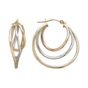 Infinite Gold™ 14K Tri-Tone Gold Polished 3-Hoop Earrings