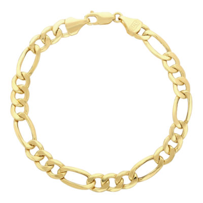hollow mens inches yellow link gold mm figaro real bracelet