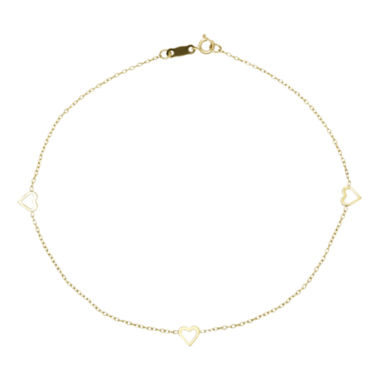 jcpenney.com | Infinite Gold™ 14K Yellow Gold Heart Ankle Bracelet
