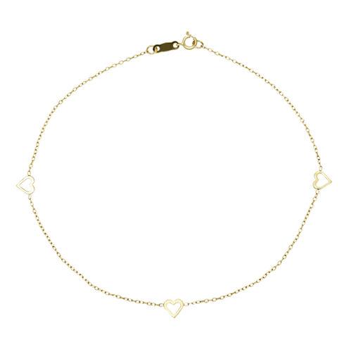 Infinite Gold™ 14K Yellow Gold Heart Ankle Bracelet