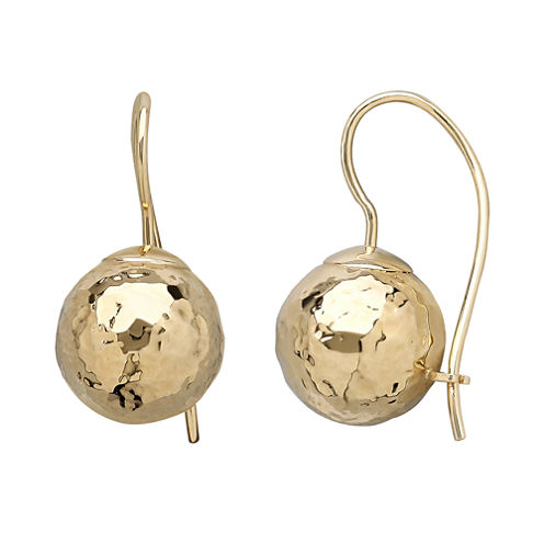 Infinite Gold™ 14K Yellow Gold Hammered Drop Earrings