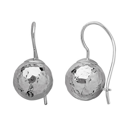 Infinite Gold™ 14K White Gold Hammered Drop Earrings