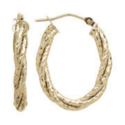 Infinite Gold™ 14K Yellow Gold Twisted Hoop Earrings