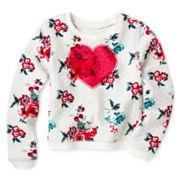 Arizona Long-Sleeve Mix Raglan Lace Knit Top – Girls 2t-6