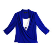 by&by Girl Long-Sleeve Wrap Top and Necklace - Girls 7-16