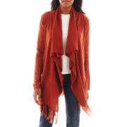 Susan Lawrence Long-Sleeve Cascade-Front Cardigan