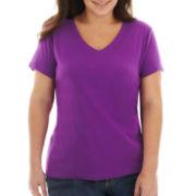 St. John's Bay® Short-Sleeve V-Neck Tee - Plus