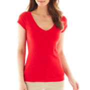 Liz Claiborne Short-Sleeve V-Neck Tee - Tall