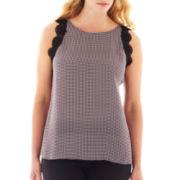 Worthington® Sleeveless Lace-Trim Shell - Plus