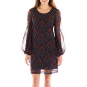 Fire Long-Sleeve Chiffon Shift Dress