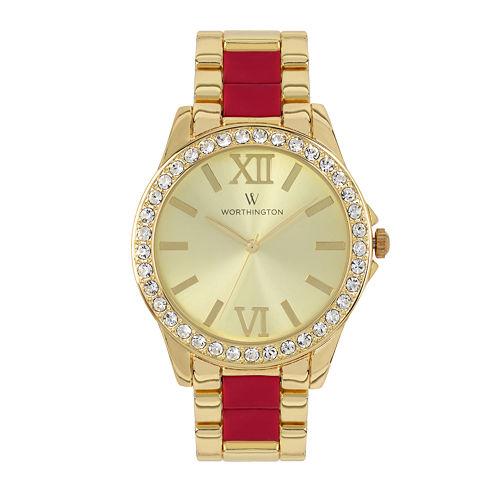 Worthington Womens Two Tone Bracelet Watch-Wt00002-05