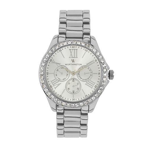 Worthington Womens Silver Tone Bracelet Watch-Wt00006-01