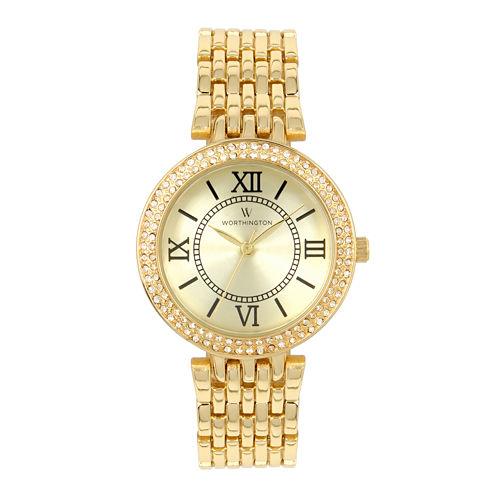 Worthington Womens Gold Tone Bracelet Watch-Wt00028-01