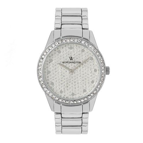 Worthington Womens Silver Tone Bracelet Watch-Wt00029-01