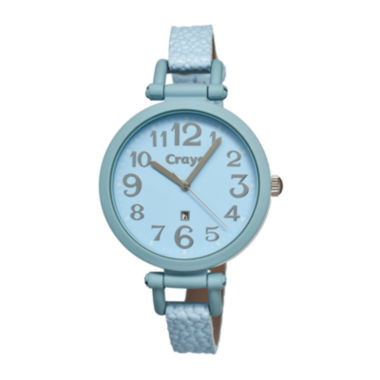 jcpenney.com | Crayo Womens Balloon Powder Blue Leather-Band Watch With Date Cracr0602