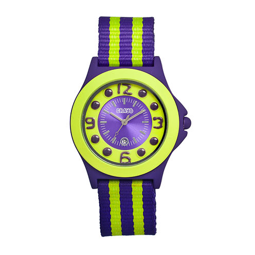 Crayo Womens Carnival Purple & Yellow Nylon-Strap Watch With Date Cracr0702