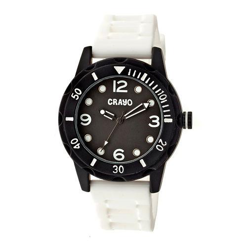 Crayo Unisex Splash White Strap Watch Cracr2201