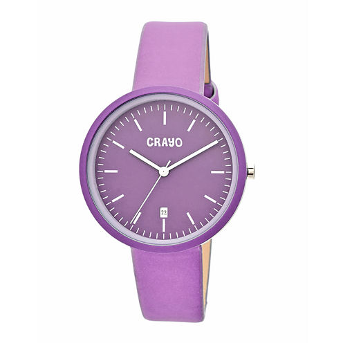 Crayo Womens Easy Purple Leather-Band Watch With Date Cracr2409