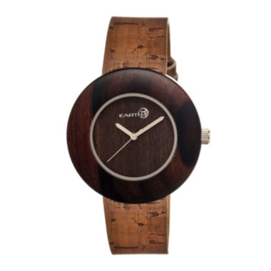 jcpenney.com | Earth Wood Ligna Dark Brown Leather-Band Watch Ethew1402