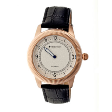 jcpenney.com | Heritor Automatic Hoyt One-Hand Mens Leather-Rose Gold/Silver Watches