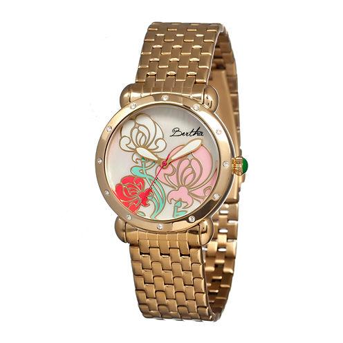Bertha Josephine Womens Mother Of Pearl Dial Gold Tone Bracelet Watch Bthbr1502
