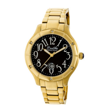jcpenney.com | Bertha Womens Jaclyn Mother-Of-Pearl Black Dial Gold Bracelet Swiss Watchbthbr4804