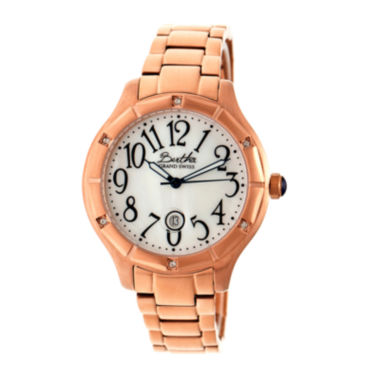 jcpenney.com | Bertha Womens Jaclyn Mother-Of-Pearl Silver Dial Rose Gold Bracelet Swiss Watchbthbr4805